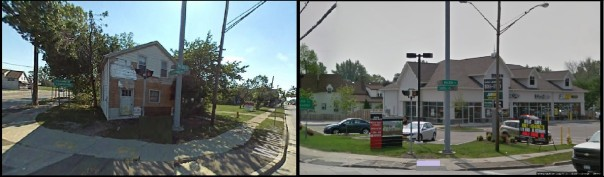 Left: The remains of Crazy Joes house in 2007. Right: The corner where Crazy Joes house stood today.
